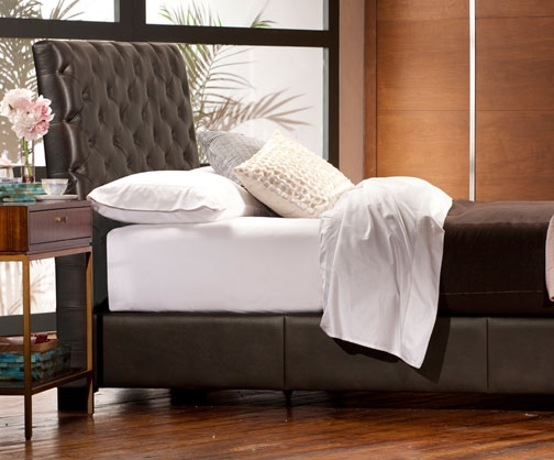 Turfted Sleigh Platform Bed